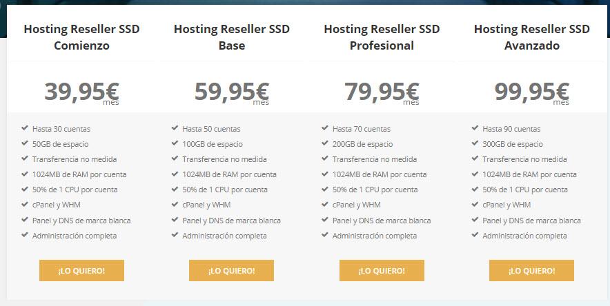 Reseller hosting ssd precios