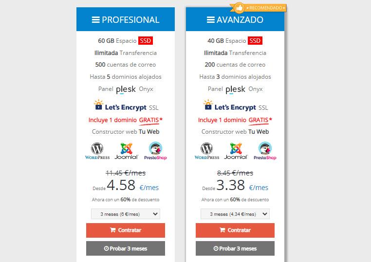 evidalia precio hosting compartido